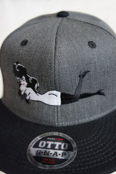 Dark Grey Hat w/ Black Brim Red Legs in the Air Patch