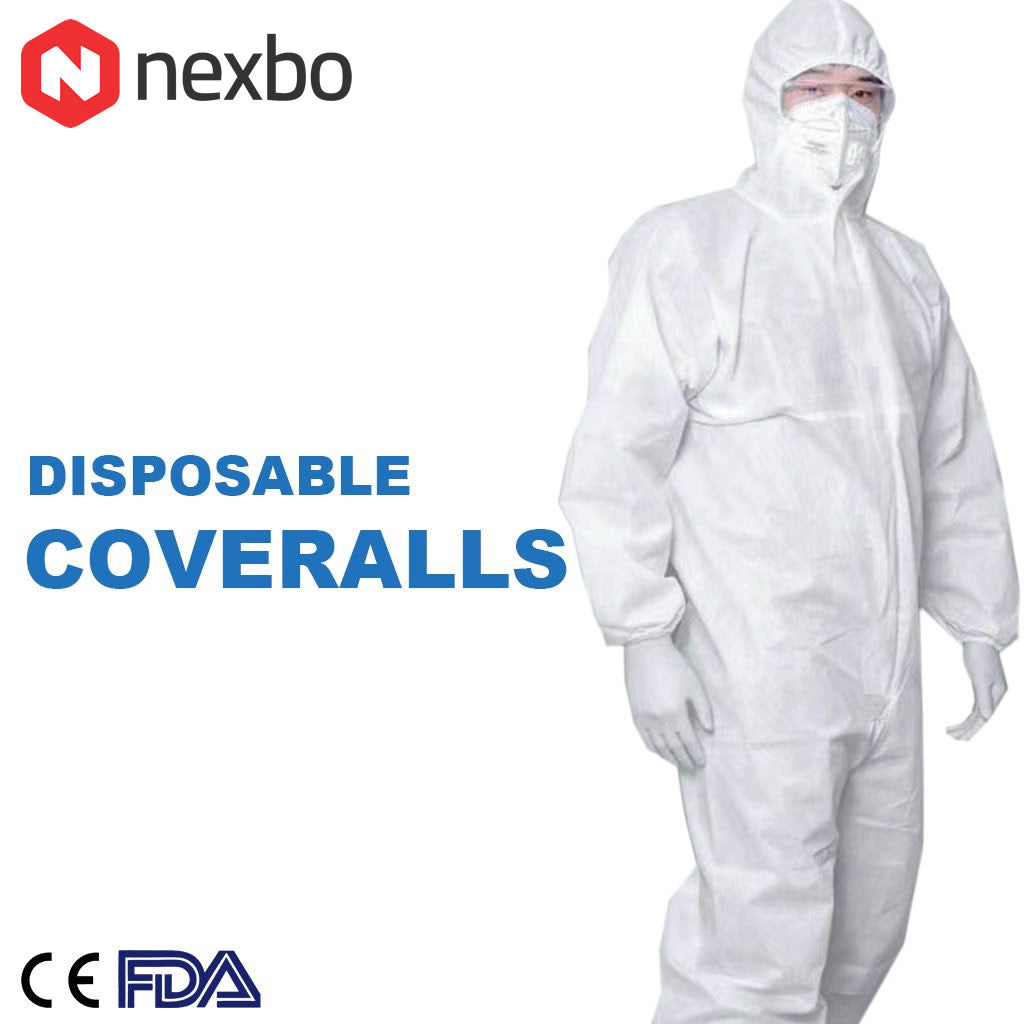 5 Disposable Protective Coverall Medical Isolation Gown Suit (Pack of 5) - Nexbo