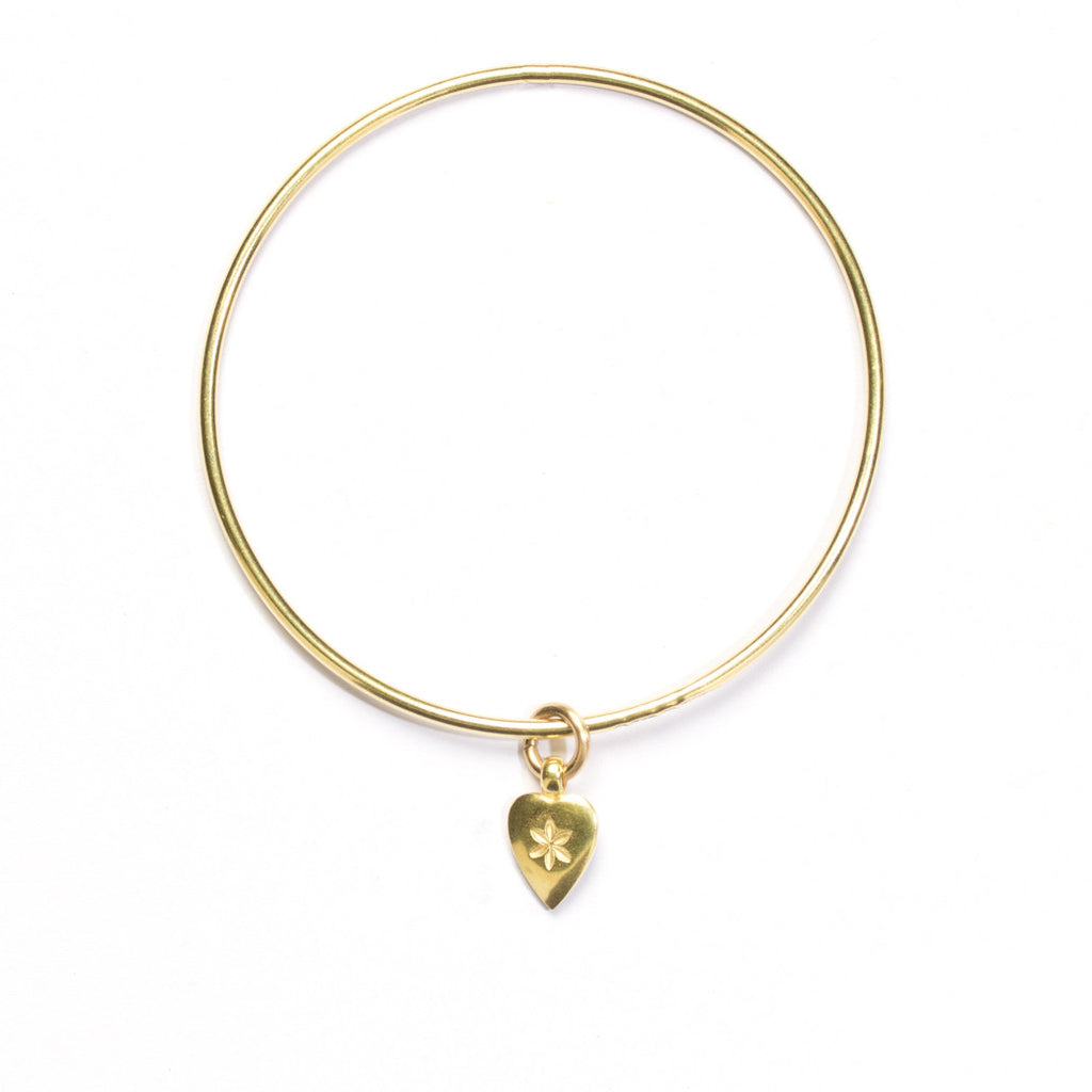 Flower Heart charm bangle