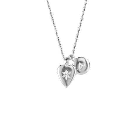 Children's Flower Heart and Alpha necklace