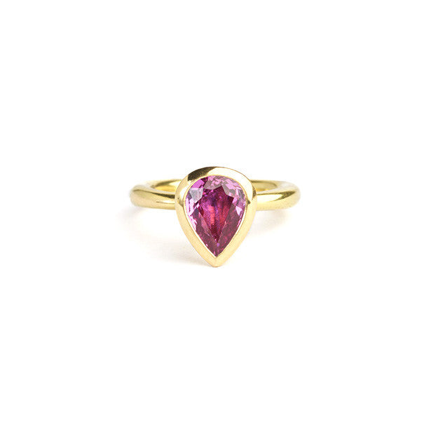 Delphi ring with pink sapphire teardrop