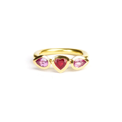 Delphi Trilogy ring with ruby heart