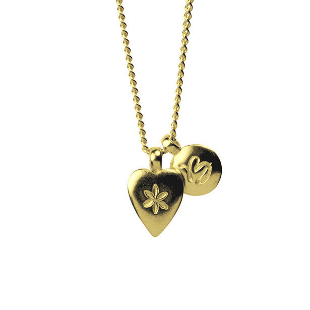 Flower Heart and Alpha charm necklace