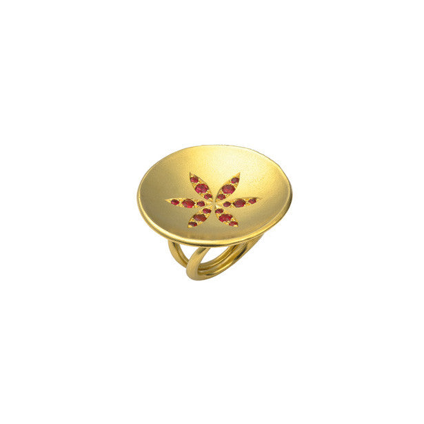 Phoenix Sun ring with rubies