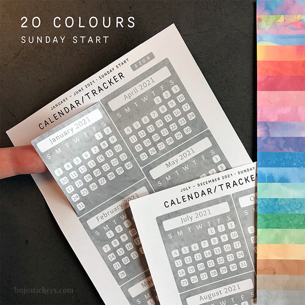 Calendar/Tracker 01 A – Sunday start – 20 colours