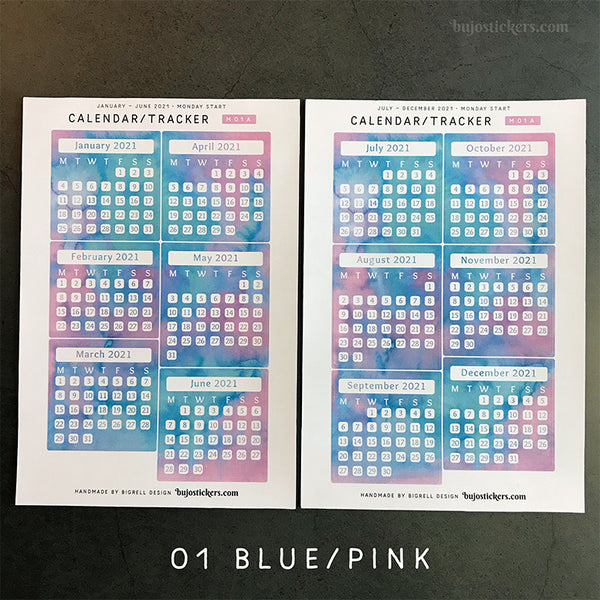 Calendar/Tracker 01 A – Monday start – 20 colours