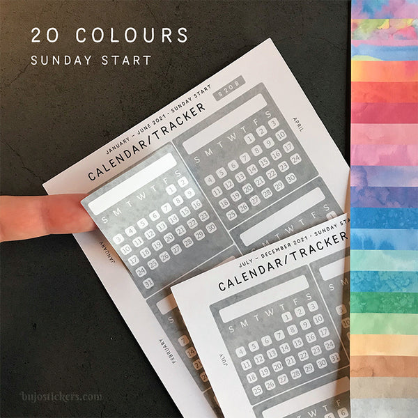 Calendar/Tracker 01 B – Sunday start – 20 colours