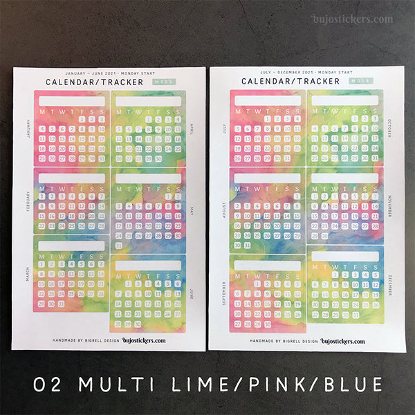 Calendar/Tracker 01 B – Monday start – 20 colours