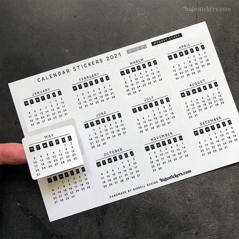Calendar stickers STYLE 01 - Monday start