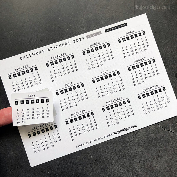 Calendar stickers STYLE 01 - Sunday start
