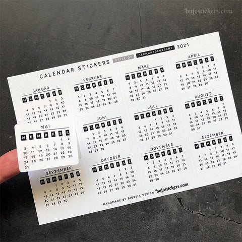 Calendar stickers STYLE 01 - German/Deutsche