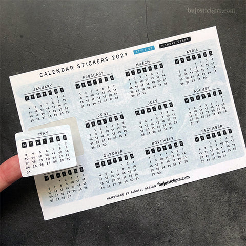 Calendar stickers STYLE 02 - Monday start