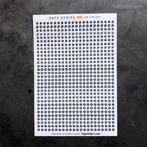 Date Strips 02 – For 5 mm grid