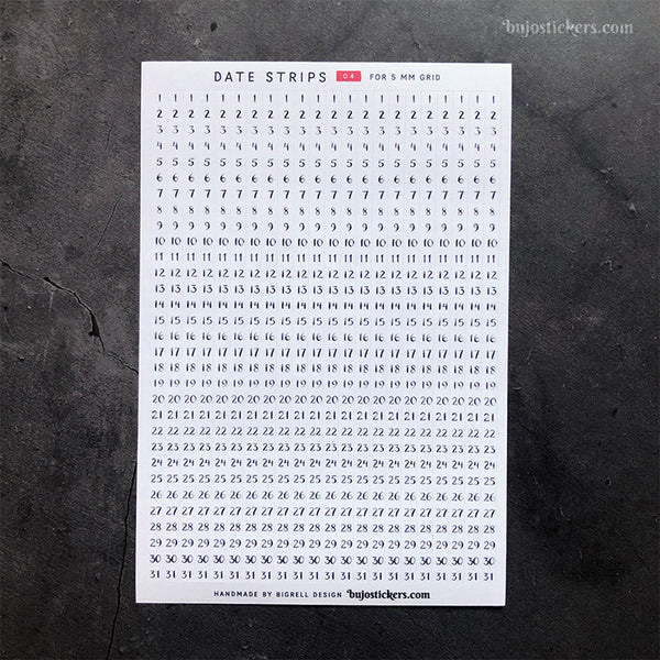 Date Strips 04 – For 5 mm grid