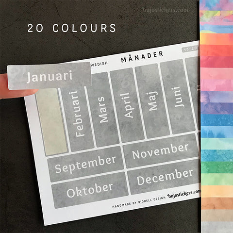 Månader 13 – 20 colours • Months in Swedish