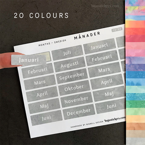 Månader 12 – 20 colours • Months in Swedish