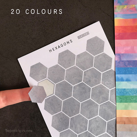 Hexagon stickers No 14 – 20 colours