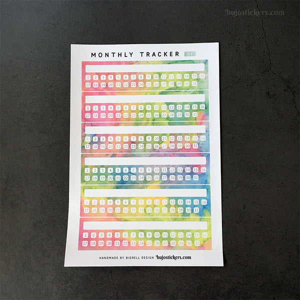 Monthly Tracker 01 – 20 colours