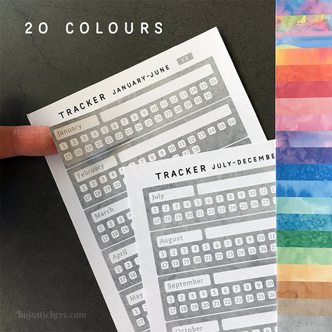 Monthly Tracker January-December 01 – 20 colours