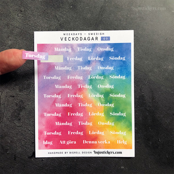 Veckodagar 03 • Weekdays in Swedish
