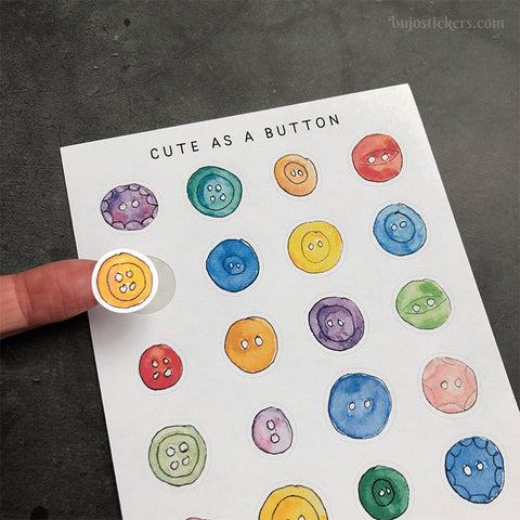 Cute as a button stickers