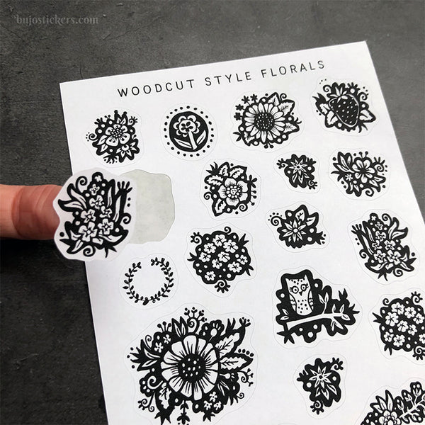 Woodcut Style Florals