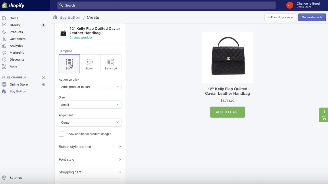 How to Create a Buy Button and a Checkout Page inside Shopify – Sunbowl