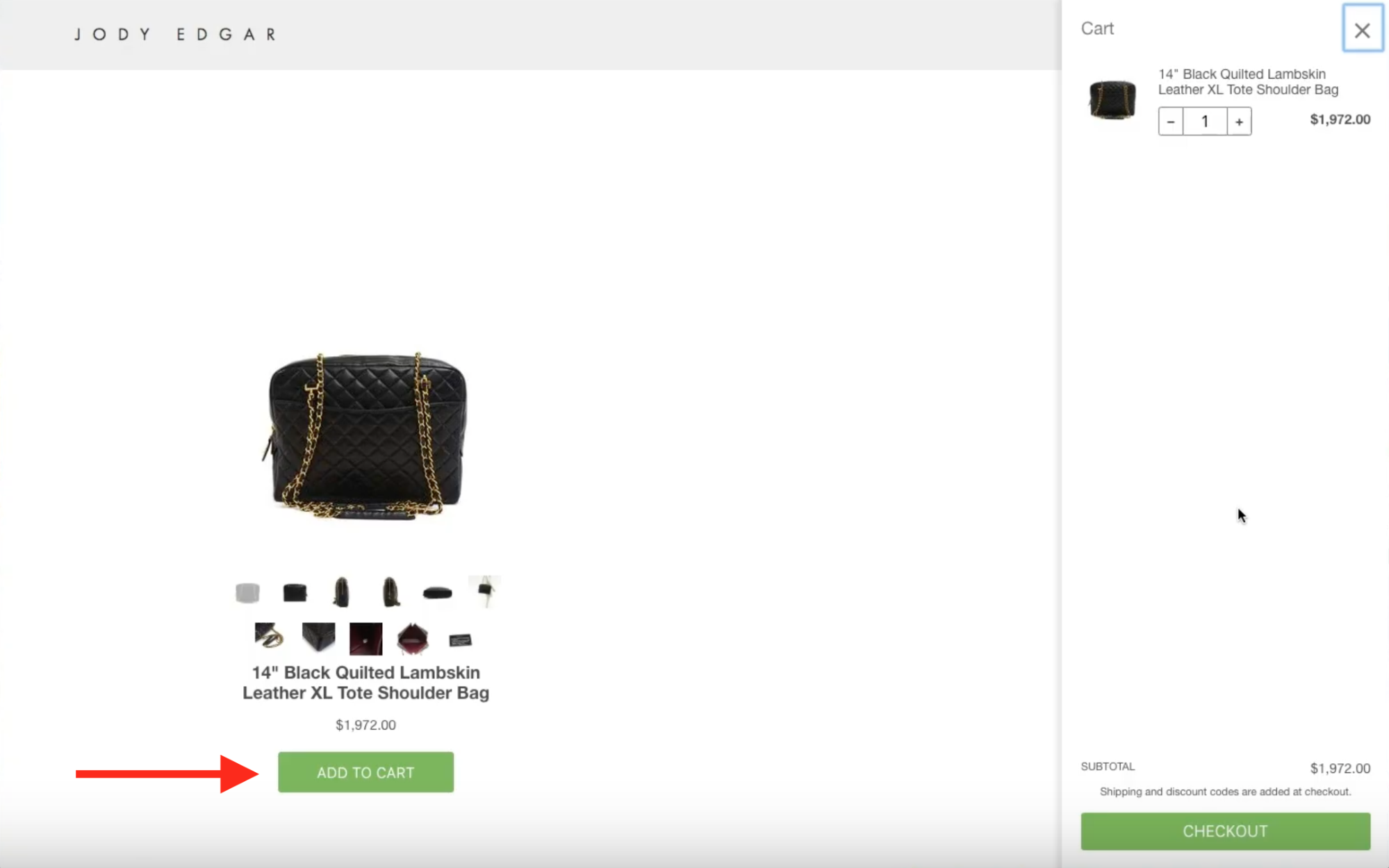 The Shopify Buy Button is installed and the checkout drawer slides out when a user clicks Add to Cart