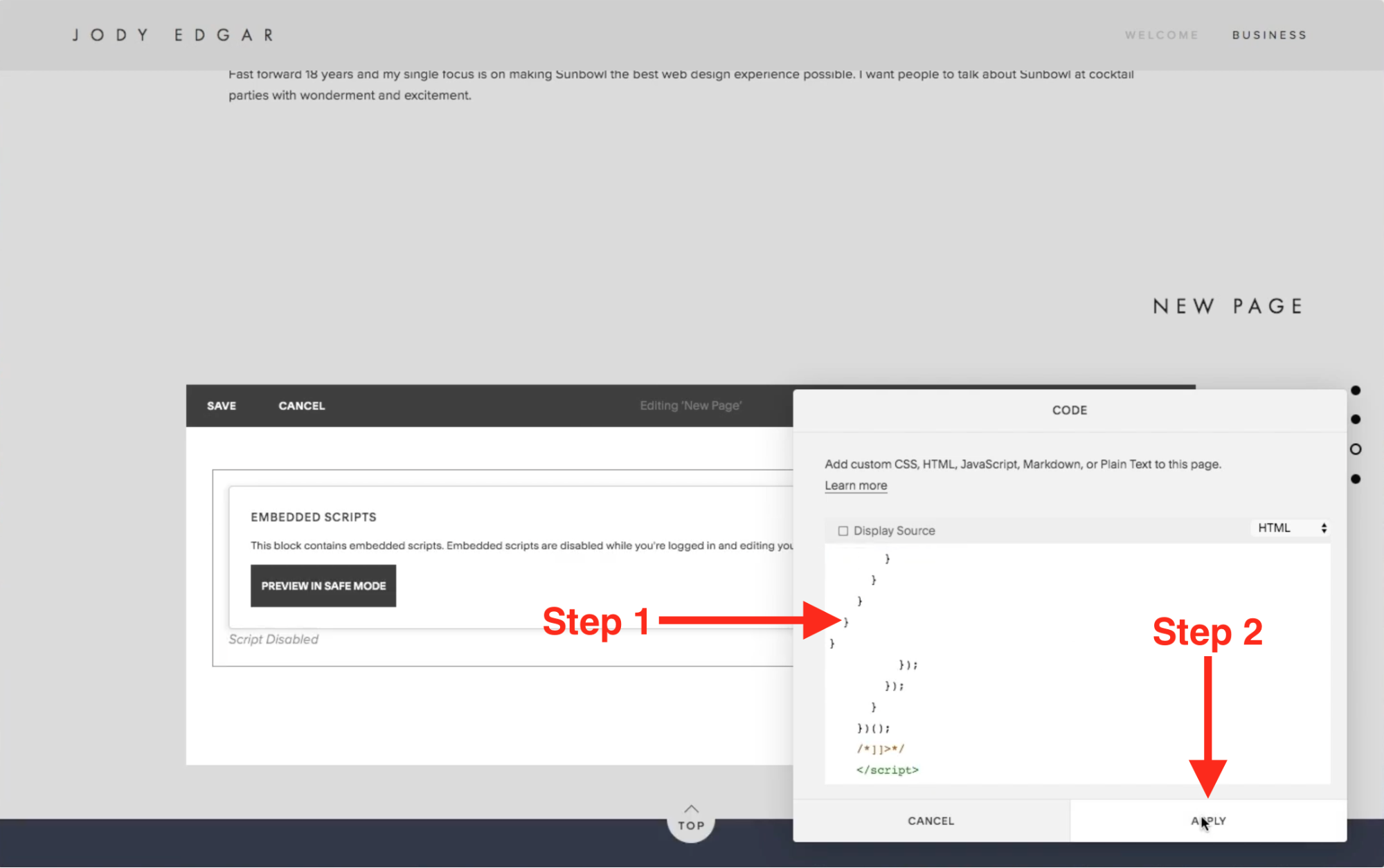 Paste the Shopify Buy Button code into the field and click Apply