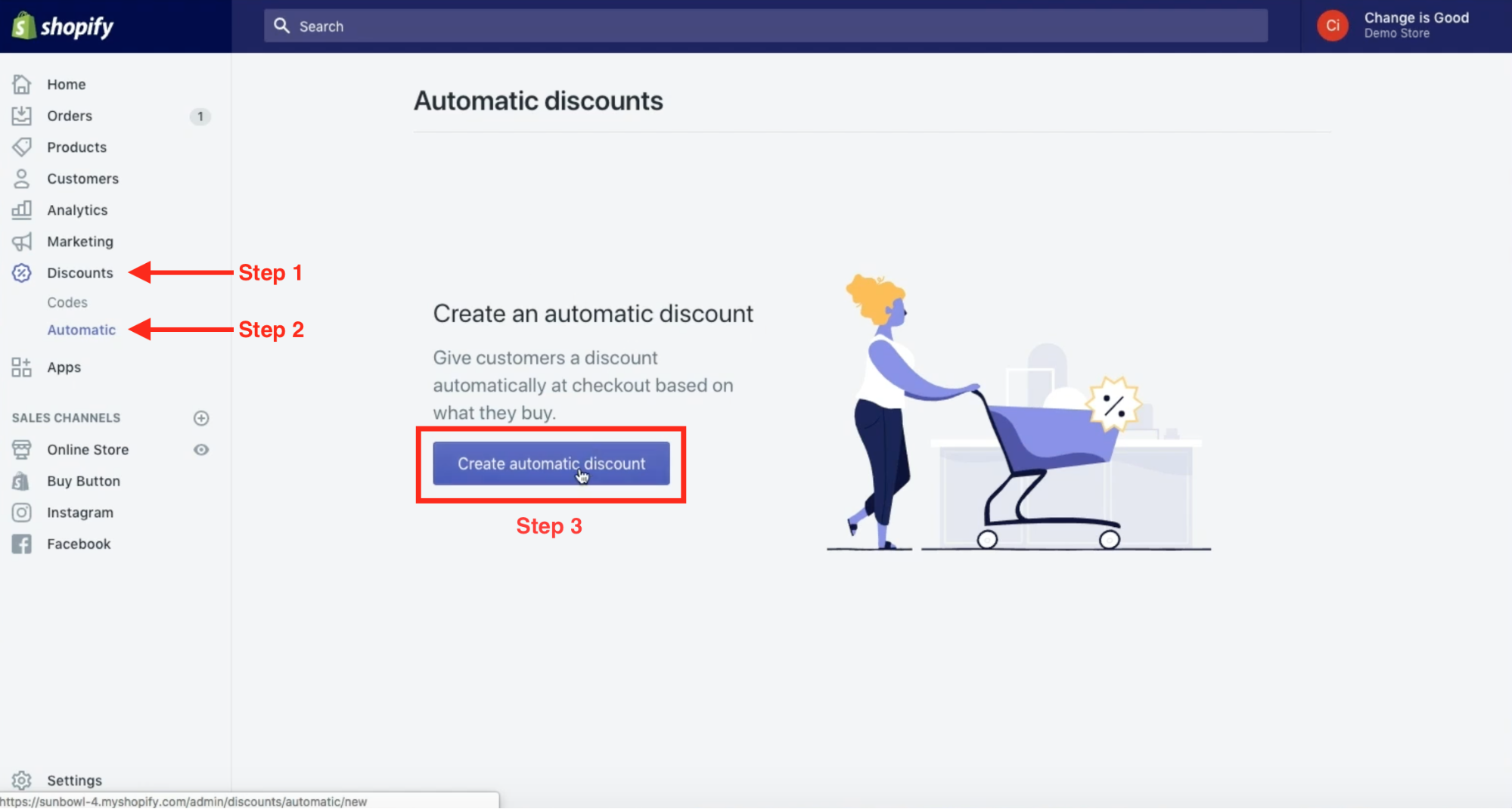 In Shopify, select discounts, automatic, and click Create automatic discount button