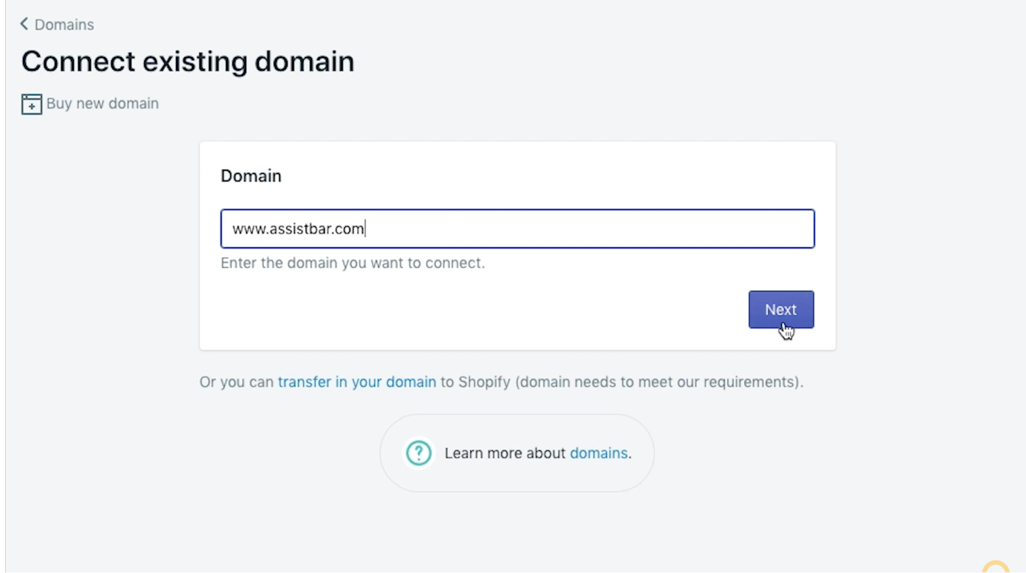Input your domain name and click Next