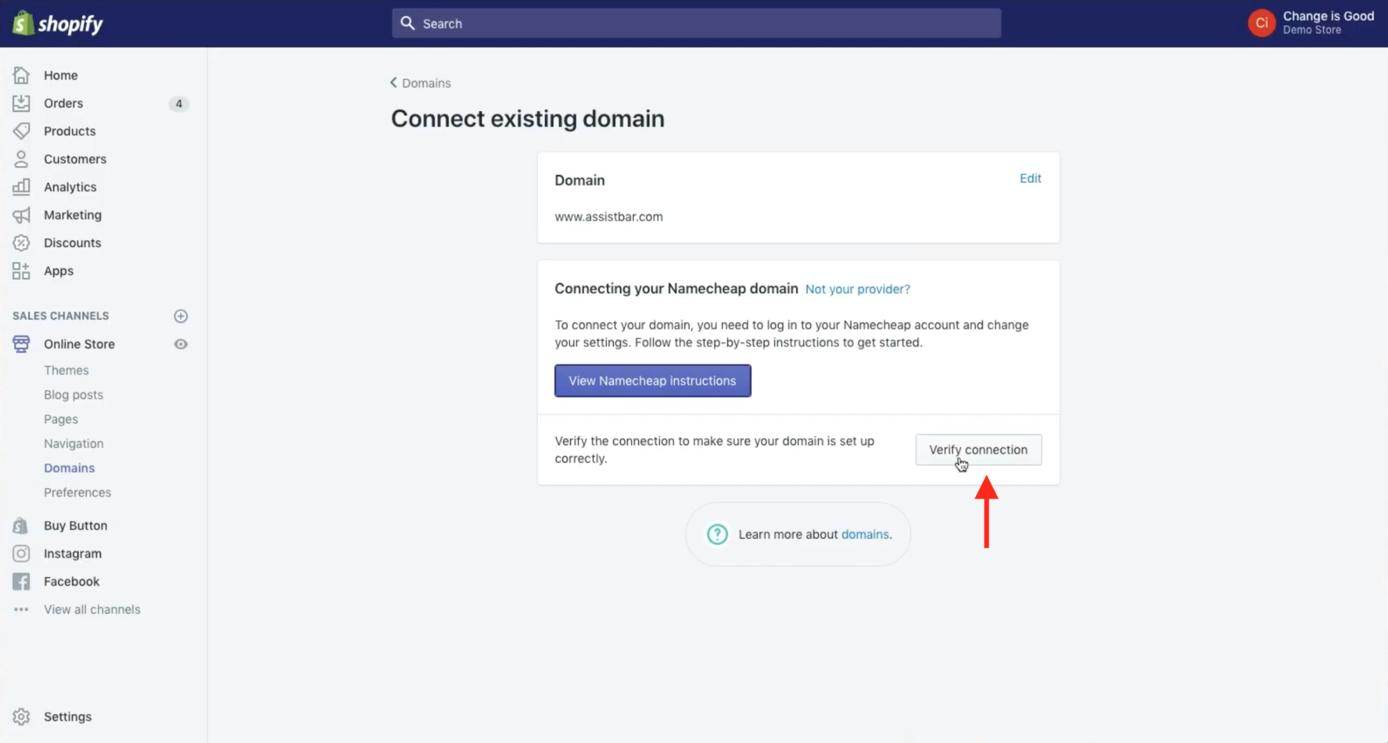 Click Verify Connection button on Shopify