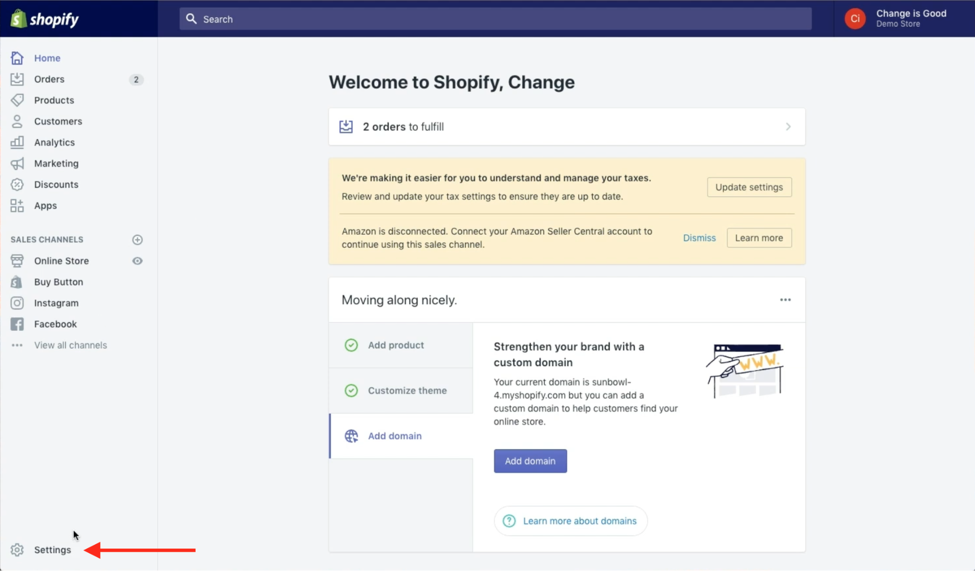 User is clicking Settings at the bottom of the Shopify navigation