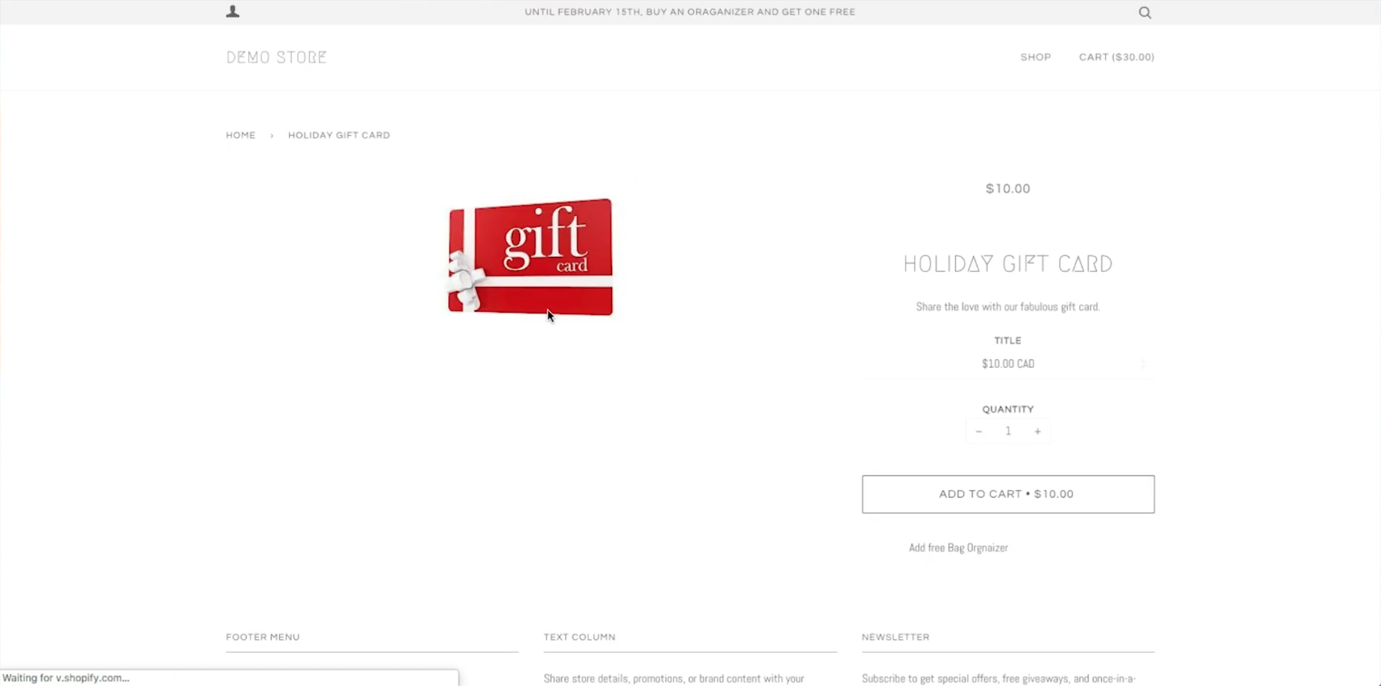 A screenshot of the gift card available for purchase in the online store.