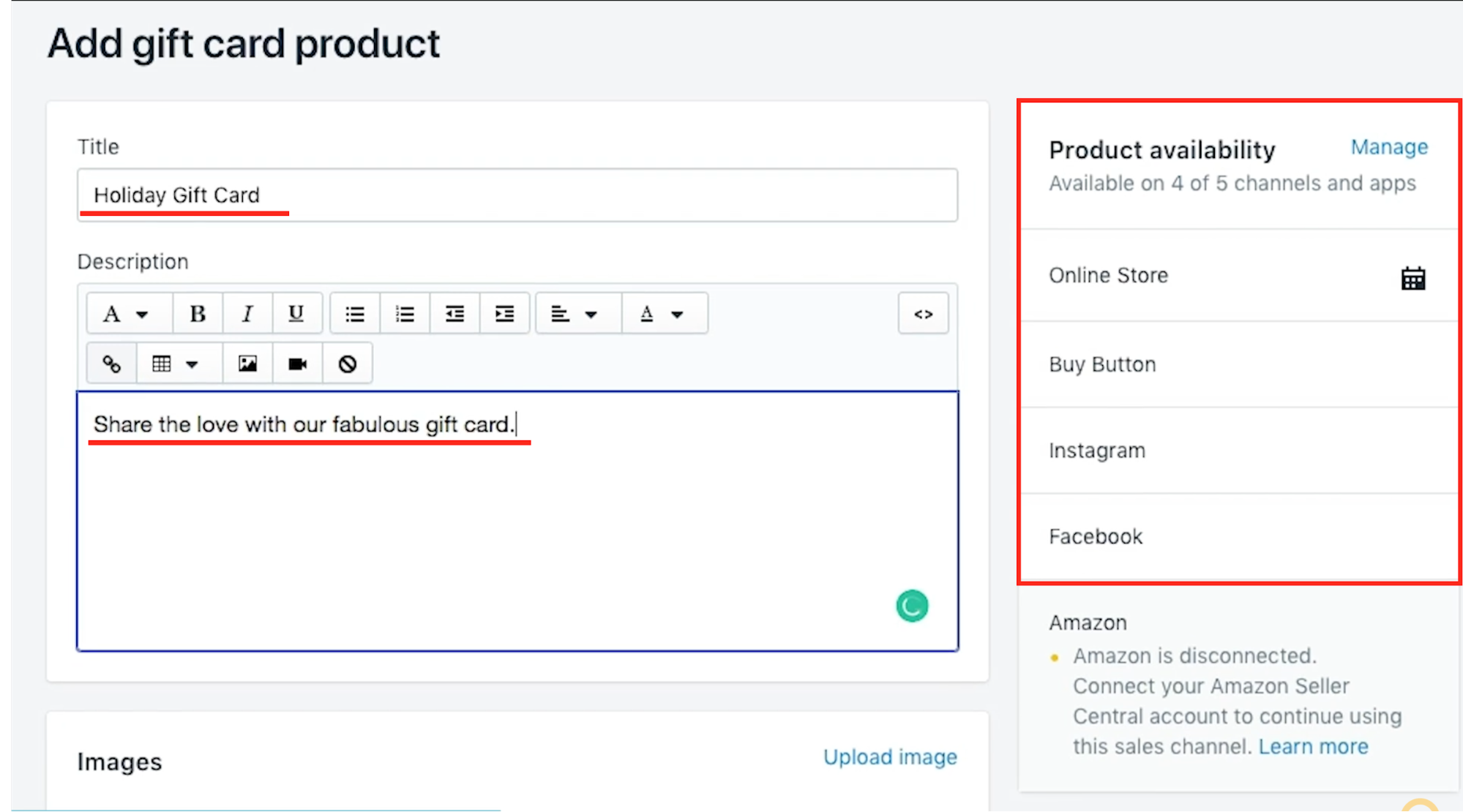 User is adding a product title, description, and selecting which sales channels to sell their product.