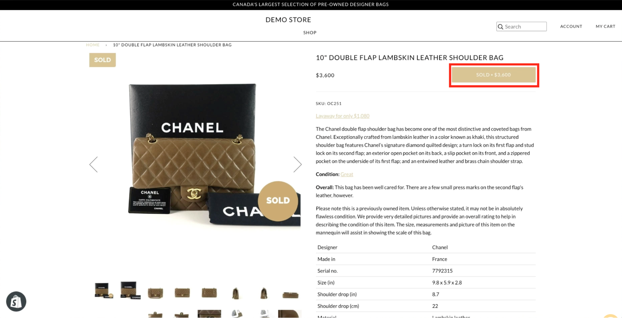 Merchant is displaying the Shopify product variant that has the price coded into the buy button.