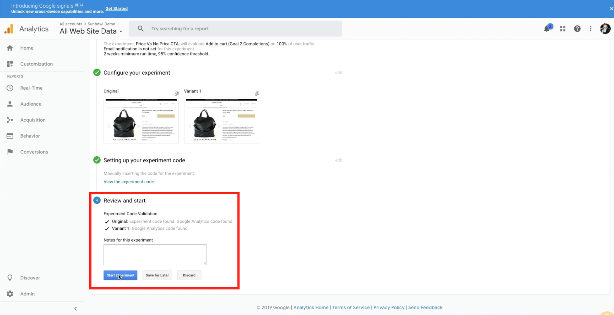 Google analytics is verifying it sees the code and that it is working on the merchants Shopify store