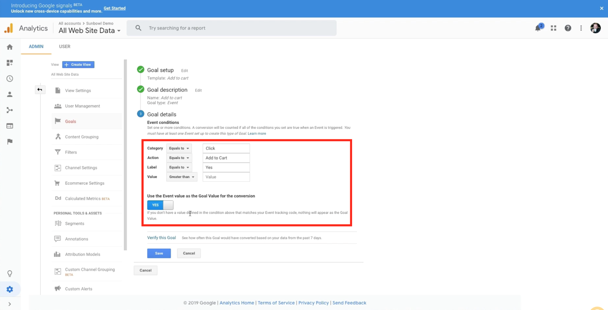 Merchant is adding the variables they used in the Shopify code and attaching them to the goal details in Google analytics.