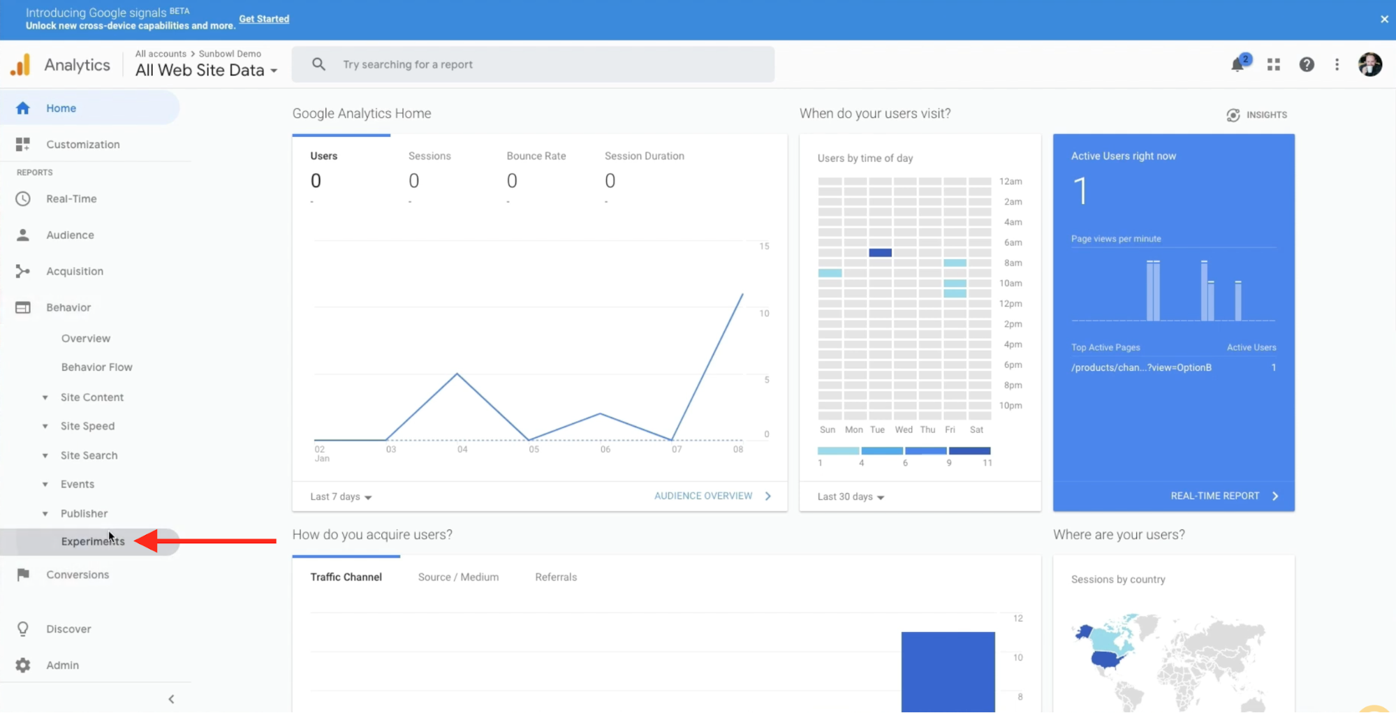 Merchant is setting up a behaviour experiment within the Google Analytics dashboard