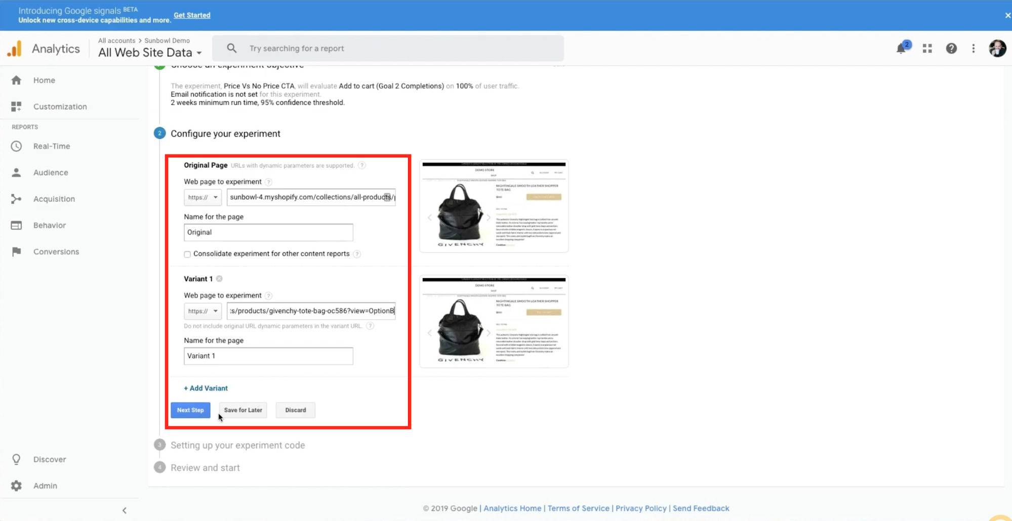 Merchant is adding the two Shopify product variants to Google Analytics for testing