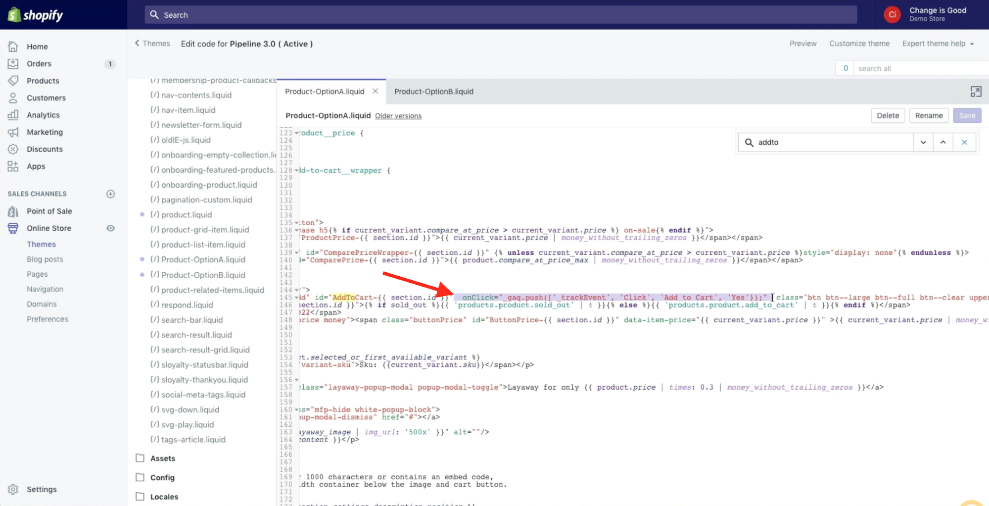 Shopify merchant is adding a string of code to their theme to  use with Google Analytics