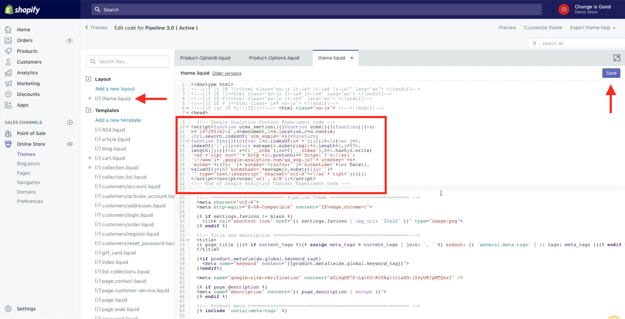 The Google Analytics code is pasted into the users Shopify theme.liquid file beneath the <head> tag