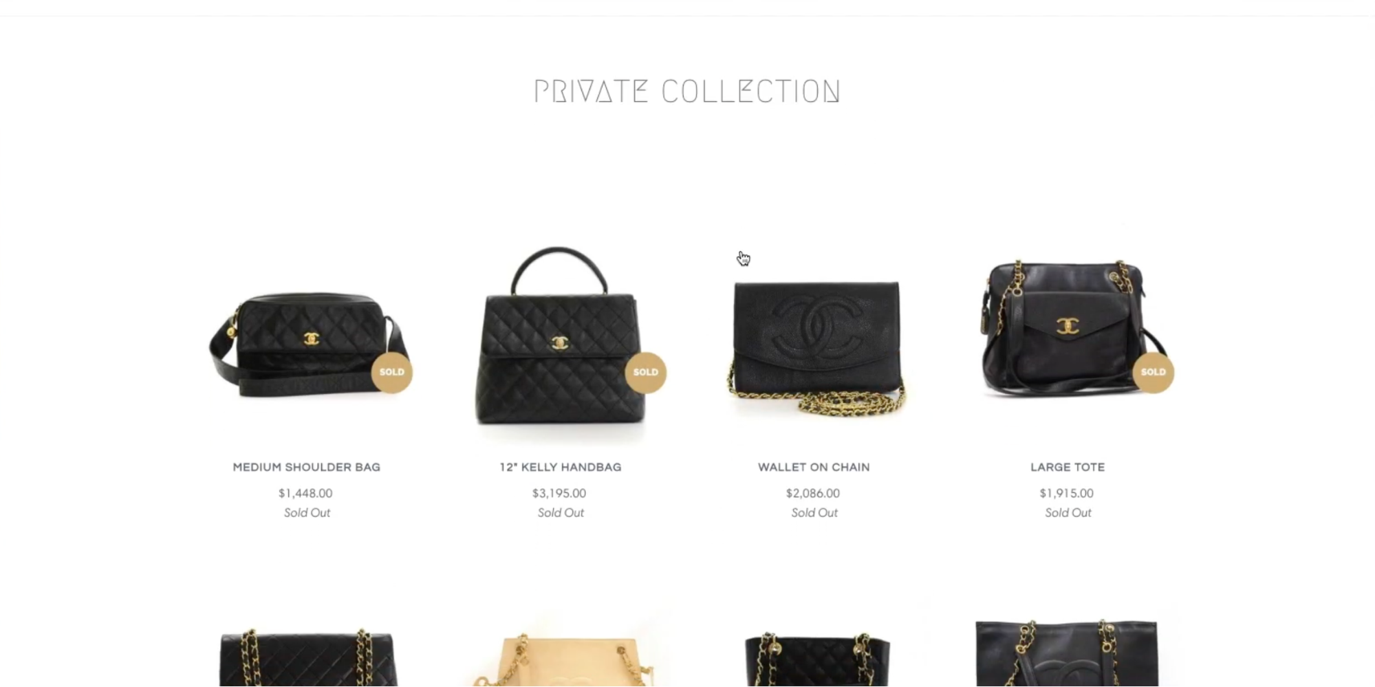 Screenshot of the private collection the customer sees because they are tagged with VIP