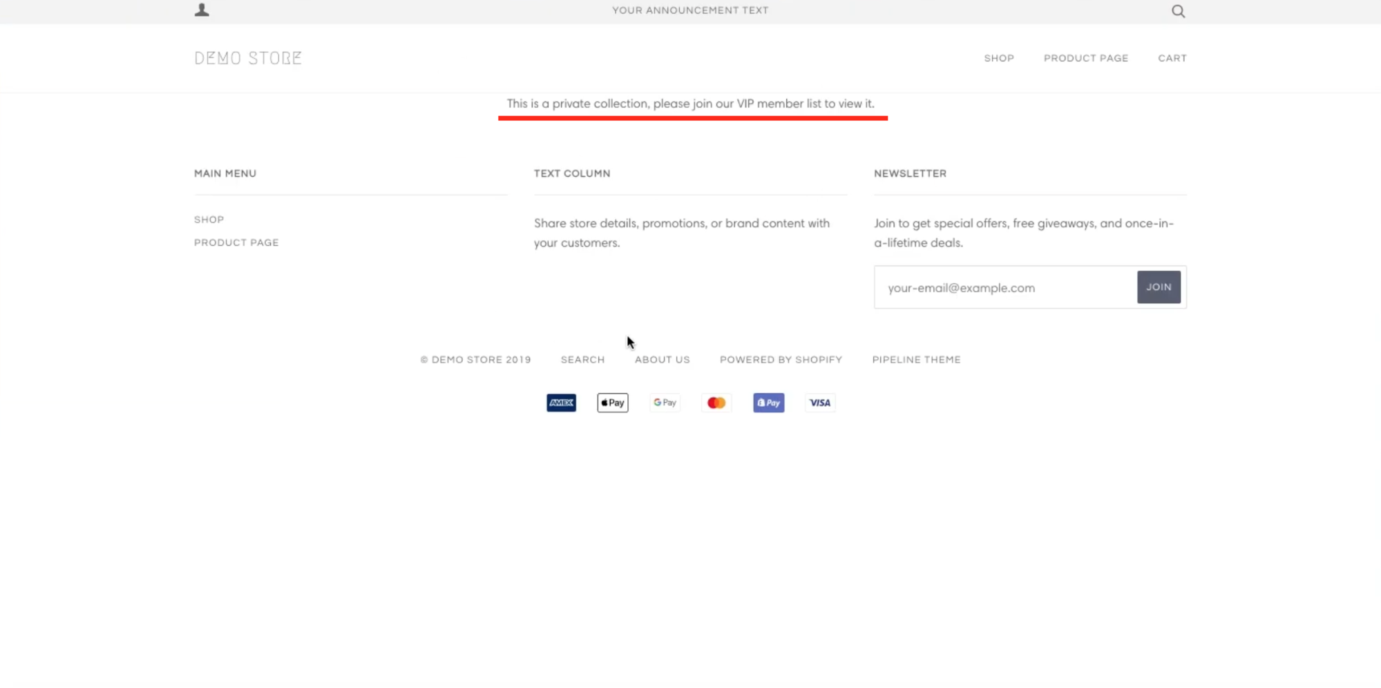 Screenshot of the rejection page because the customer is not tagged VIP