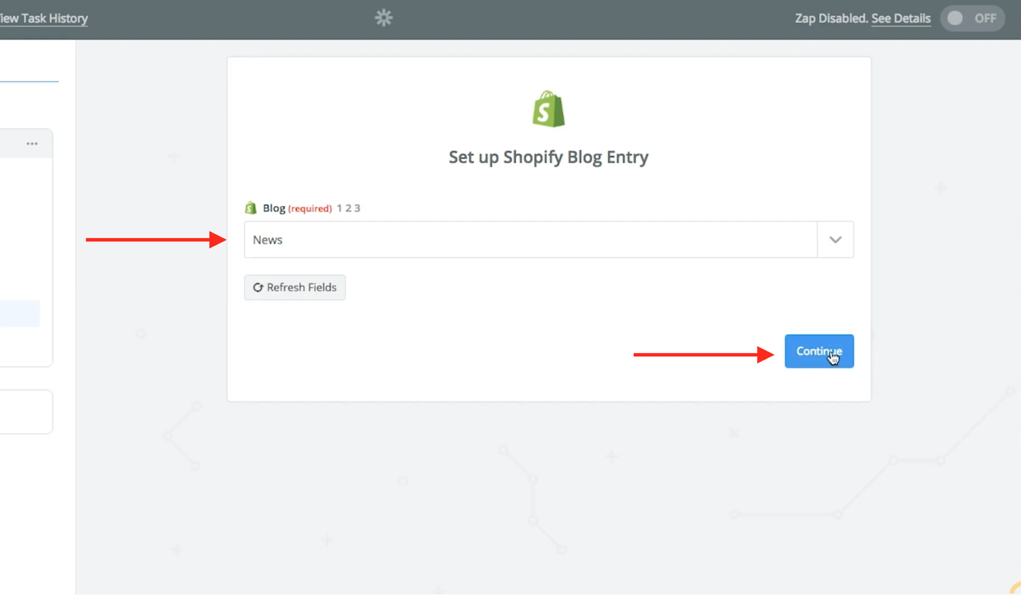 User selects the Shopify blog they want to use