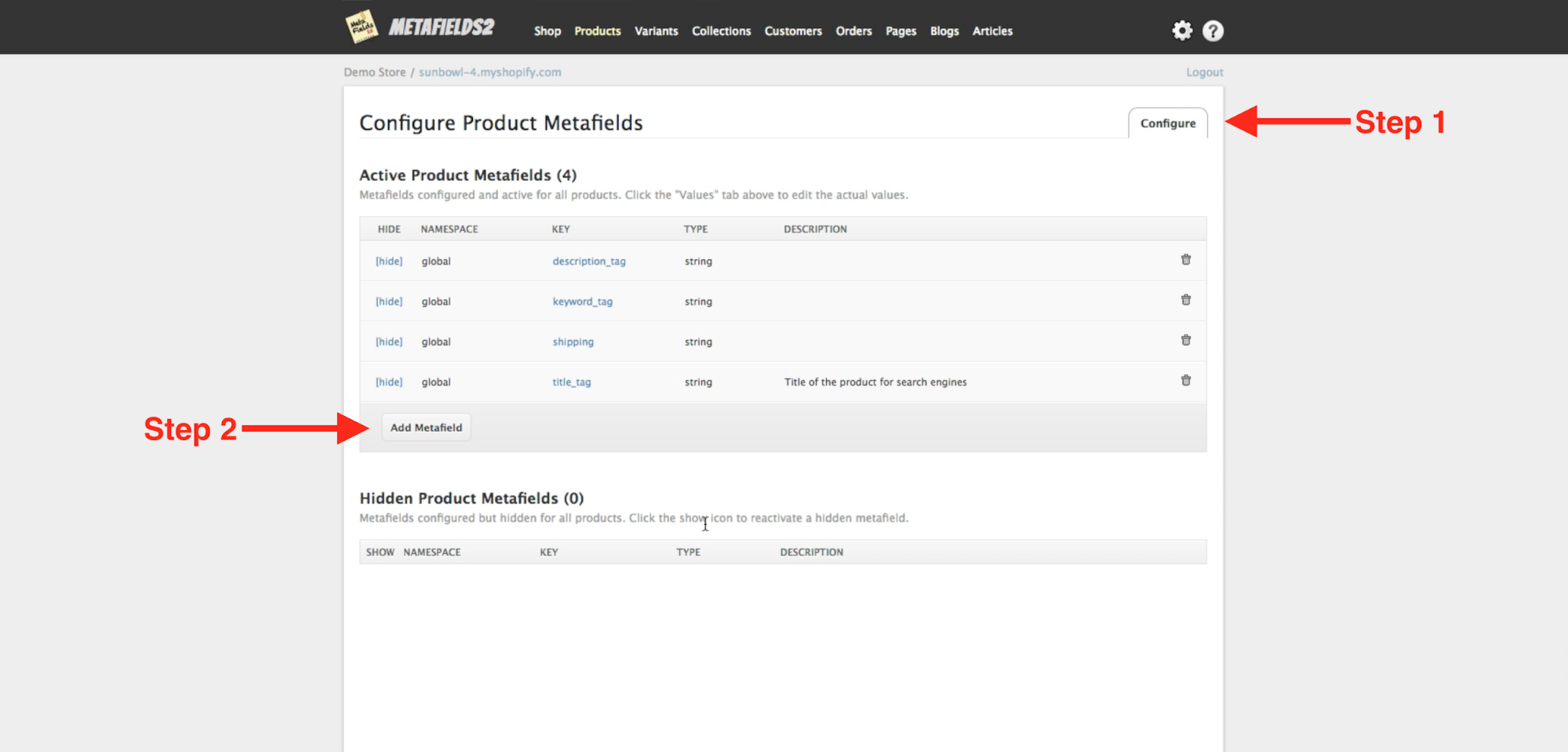 Merchant is setting up new metafields within the Metafields2 app from the Shopify app store