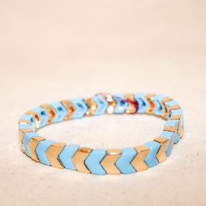 Thin Gold/Sky Blue Bracelet
