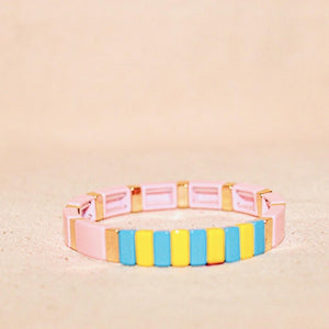 Thin Pink/Gold Multi Color Bracelet