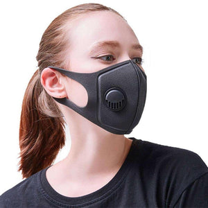 Dust-Proof Antibacterial Polyurethane Face Mask with Breathing Valve - Charcoal Gray