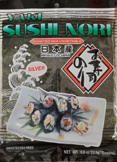 Motoi Nori Yaki Sushi Nori SILVER Seaweed for Sushi from Japan / 日本産 焼すしのり 10sheets - Konbiniya Japan Centre